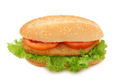 Pão com schnitzel imagem de stock