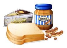 Pão cortado com queijo e manteiga ilustração do vetor