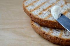 Pão cortado do brinde, vista superior foto de stock