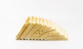 Pão cortado isolado no branco Imagens de Stock