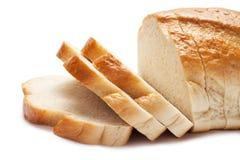 Pão cortado isolado sobre o branco Fotografia de Stock