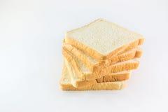Pão cortado no fundo branco Imagens de Stock Royalty Free