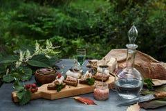 Pão da banha com anéis de cebola, rabanete de cavalo e pimentão fotografia de stock royalty free