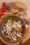 Pão da vodca do russo dos cogumelos da carne da salada de couve foto de stock royalty free