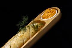 Pão de alho com mergulho Fotografia de Stock