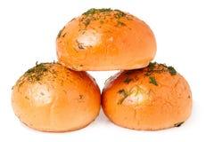 Pão de alho no branco imagens de stock