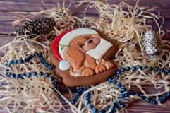 Pão-de-espécie agradável do Natal na forma do cão com o cartão vazio na boca que coloca com as decorações diferentes na tabela de Imagens de Stock Royalty Free