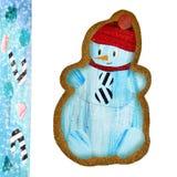 Pão-de-espécie com boneco de neve ilustração stock