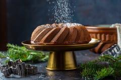 Pão-de-espécie do Natal no suporte foto de stock