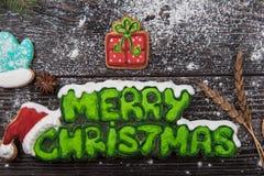 Pão-de-espécie e café para anos novos ou Natal Fotos de Stock Royalty Free