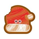 Pão-de-espécie mordido do chapéu do Natal ilustração royalty free
