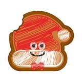 Pão-de-espécie mordido feliz do chapéu do Natal ilustração do vetor
