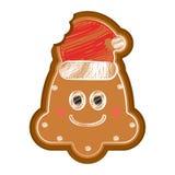Pão-de-espécie mordido feliz do sino de Natal ilustração stock