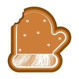 Pão-de-espécie mordido isolado da luva do Natal ilustração do vetor