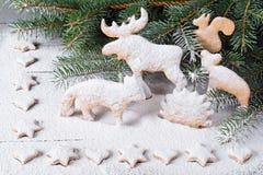 Pão-de-espécie na forma dos animais, das estrelas e dos corações No fundo de árvores de Natal dos galhos Fotografia de Stock