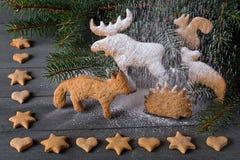 Pão-de-espécie na forma dos animais, das estrelas e dos corações No fundo de árvores de Natal dos galhos Foto de Stock
