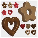 Pão-de-espécie na forma dos corações e das estrelas, desenhos do vetor 3D ilustração stock