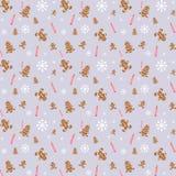 Pão-de-espécie, velas e teste padrão dos flocos da neve Imagens de Stock Royalty Free