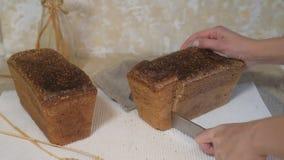 Pão de mistura em um fundo escuro Faca de pão Um naco do pão caseiro fresco em um fundo claro video estoque