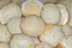 Pão de queijo - Cheese bread. Close-up cheese bread in black bowl Royalty Free Stock Photography