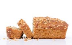 Pão do bolo da banana isolado fotos de stock