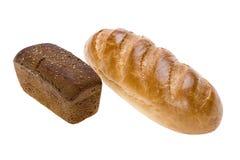 Pão do branco e do broun no branco foto de stock