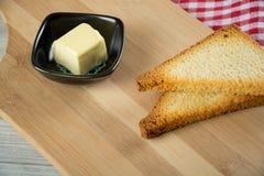 Pão do brinde com manteiga Fotografia de Stock Royalty Free