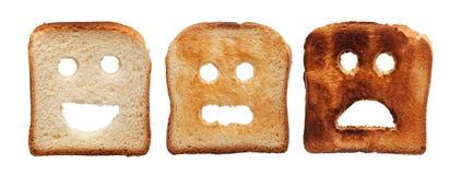 Pão do brinde queimado diferentemente fotos de stock