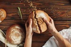 Pão do impacto das mãos Imagens de Stock Royalty Free