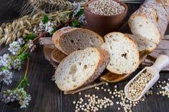 Pão do trigo mourisco, baguette francês e hastes do trigo, aveia, trigo mourisco Imagem de Stock Royalty Free