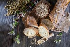 Pão do trigo mourisco, baguette francês e hastes do trigo, aveia, trigo mourisco Fotografia de Stock