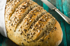 Pão duro da massa caseiro rústica do artesão fotos de stock