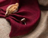Pão e alho no fundo da serapilheira colorida, ainda vida imagem de stock