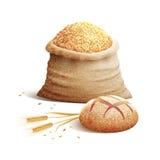 Pão e conceito da grão 3d Fotografia de Stock Royalty Free