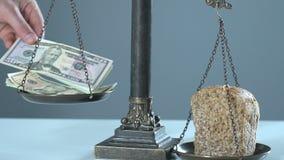 Pão e dólares em escalas, conceito do salário mínimo, produtos internos brutos filme