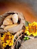 Pão e girassol Imagem de Stock