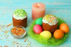 Pão e ovos de Easter Fotografia de Stock Royalty Free