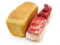 Pão e a parte de carne grande Fotografia de Stock Royalty Free