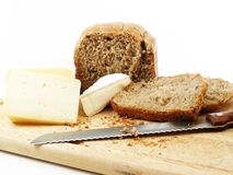 Pão e queijo Foto de Stock Royalty Free