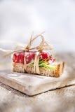 Pão e salami Fotografia de Stock