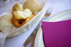 Pão e salsicha Imagens de Stock