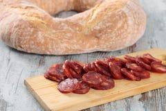 Pão e salsicha Fotografia de Stock
