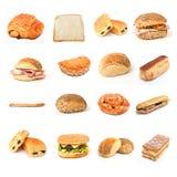 Pão e sanduíches e colagem da padaria Fotografia de Stock