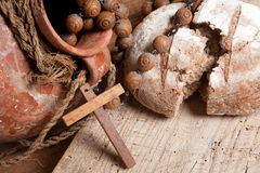 Pão e vinho para Jesus Imagem de Stock