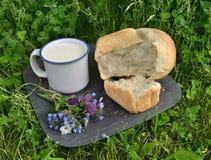 Pão, flores e leite no copo na grama Fotos de Stock Royalty Free