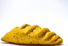 Pão francês com milho no fundo branco imagens de stock royalty free