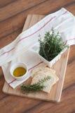 Pão fresco e alecrins Foto de Stock Royalty Free