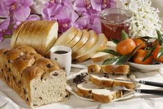 Pão, fruta e atolamento Imagem de Stock Royalty Free
