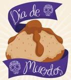 Pão inoperante com comemoração das fitas dos cumprimentos & x22; Dia de Muertos & x22; , Ilustração do vetor ilustração stock