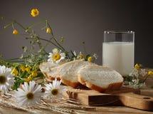 Pão, leite e flores selvagens Imagens de Stock Royalty Free